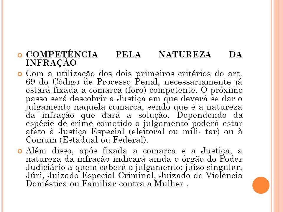 COMPETÊNCIA PELA NATUREZA DA INFRAÇÃO Com a utilização dos dois primeiros critérios do art. 69 do Código de Processo Penal, necessariamente já estará