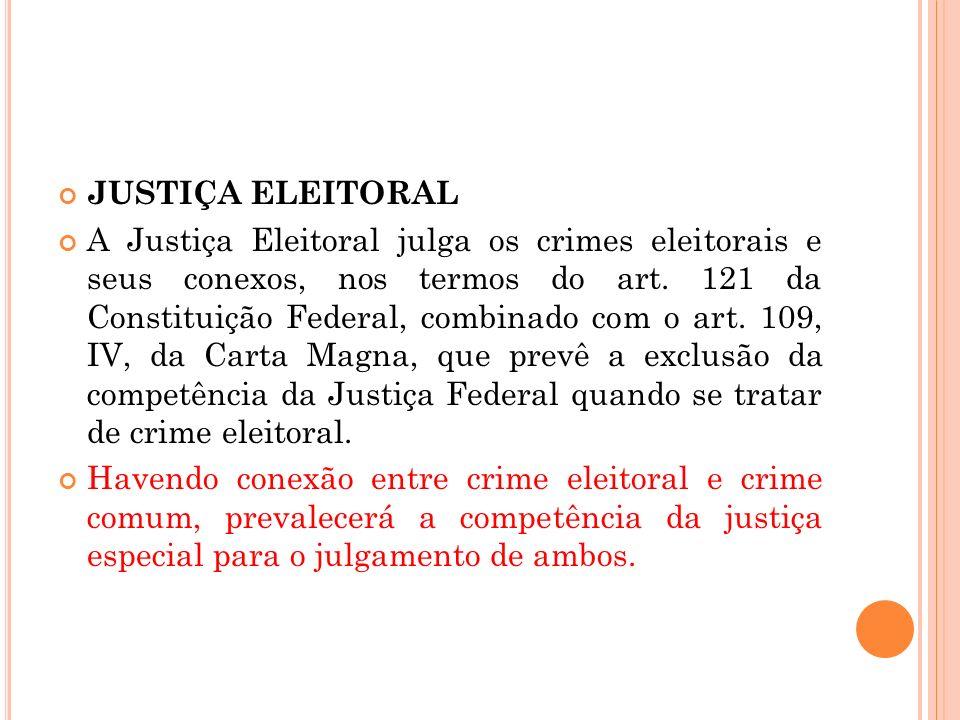 JUSTIÇA ELEITORAL A Justiça Eleitoral julga os crimes eleitorais e seus conexos, nos termos do art. 121 da Constituição Federal, combinado com o art.