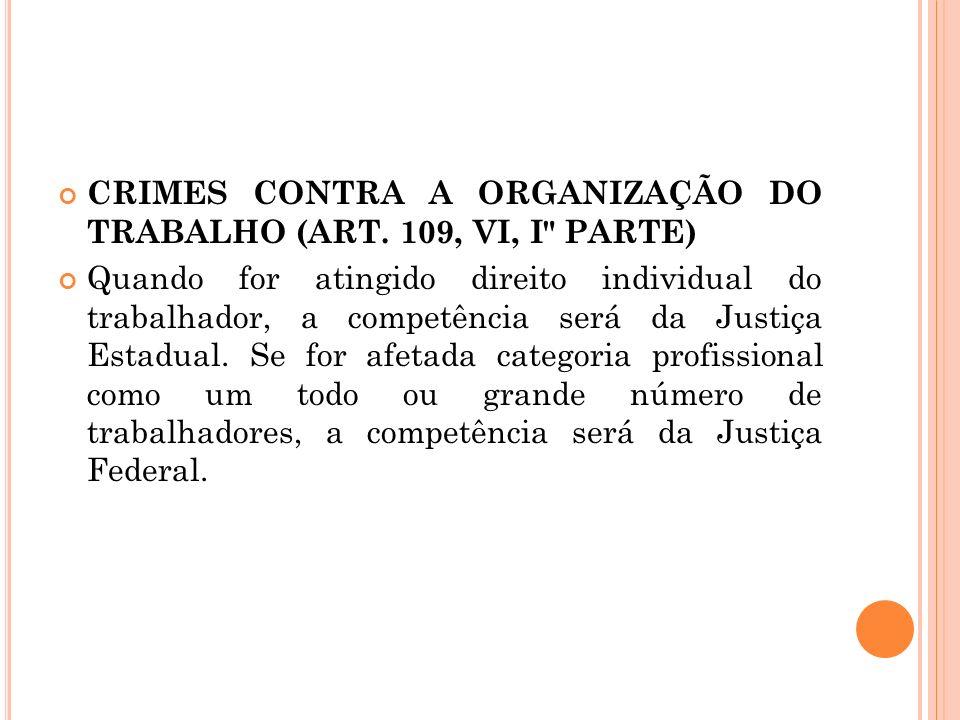 CRIMES CONTRA A ORGANIZAÇÃO DO TRABALHO (ART. 109, VI, I