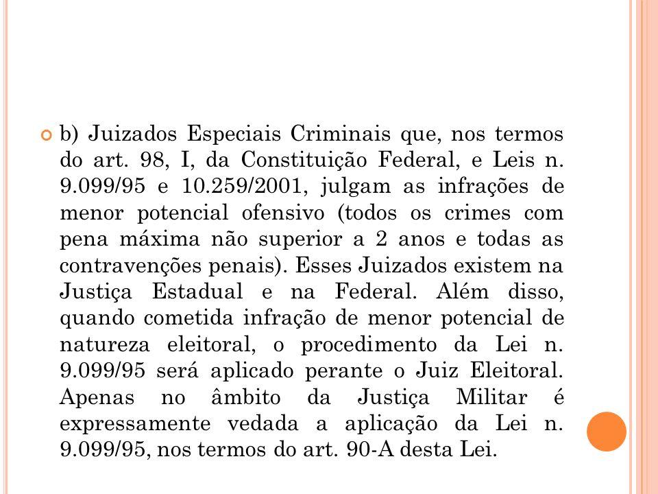 b) Juizados Especiais Criminais que, nos termos do art. 98, I, da Constituição Federal, e Leis n. 9.099/95 e 10.259/2001, julgam as infrações de menor
