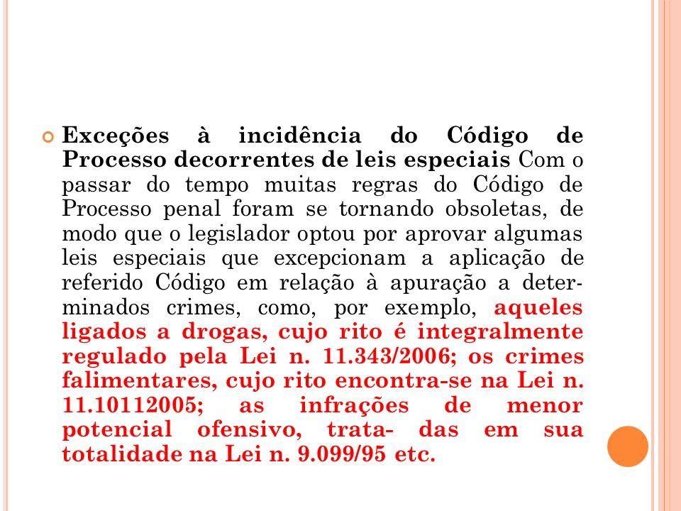 Exceções à incidência do Código de Processo decorrentes de leis especiais Com o passar do tempo muitas regras do Código de Processo penal foram se tor