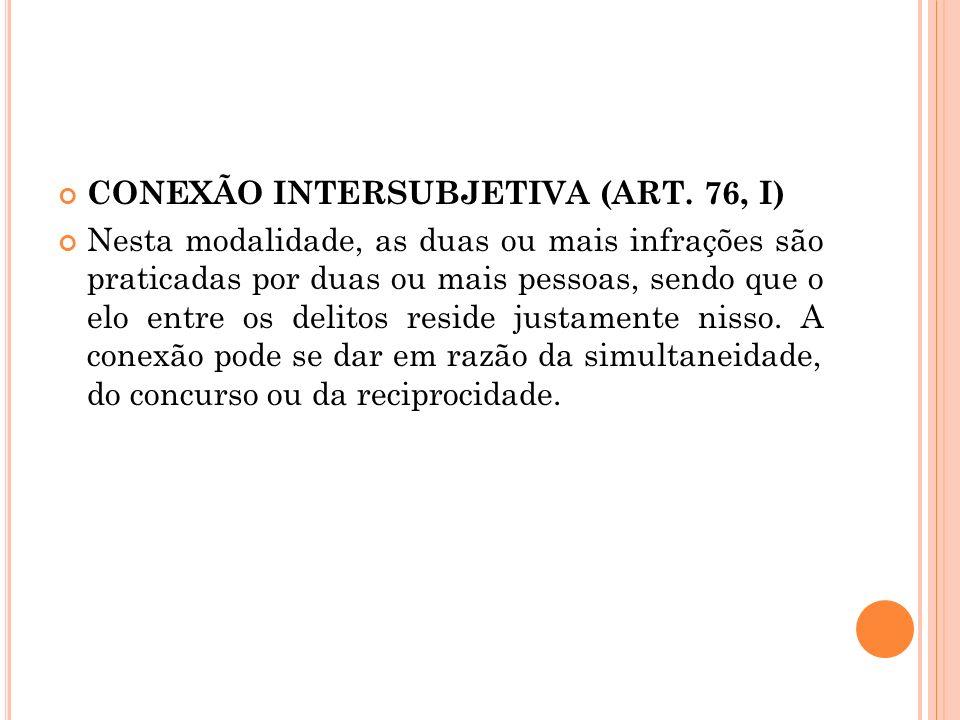 CONEXÃO INTERSUBJETIVA (ART. 76, I) Nesta modalidade, as duas ou mais infrações são praticadas por duas ou mais pessoas, sendo que o elo entre os deli