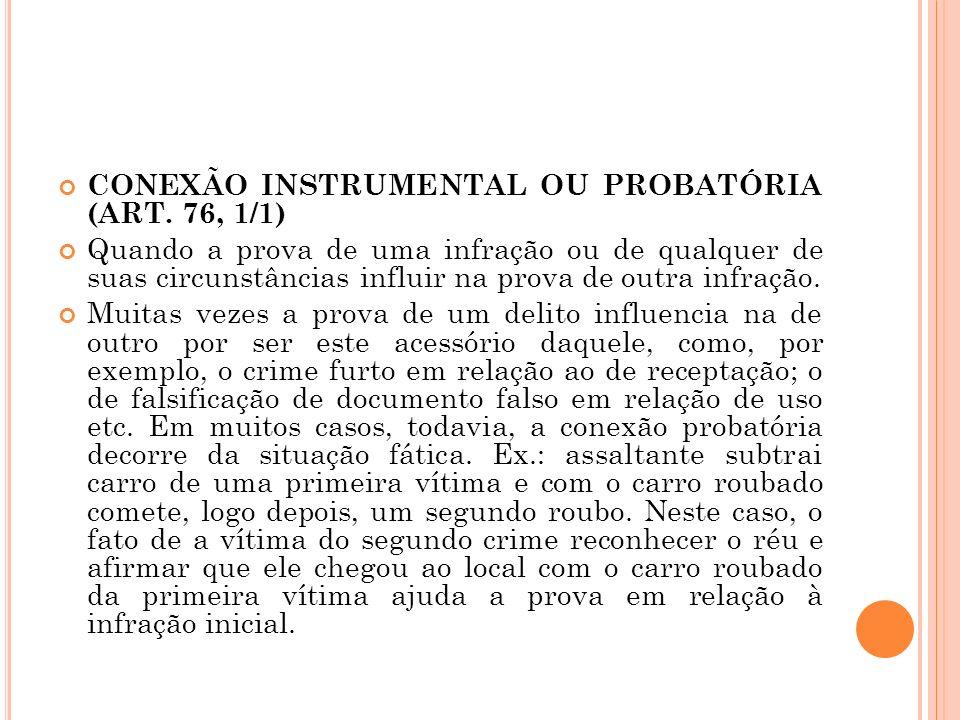 CONEXÃO INSTRUMENTAL OU PROBATÓRIA (ART. 76, 1/1) Quando a prova de uma infração ou de qualquer de suas circunstâncias influir na prova de outra infra