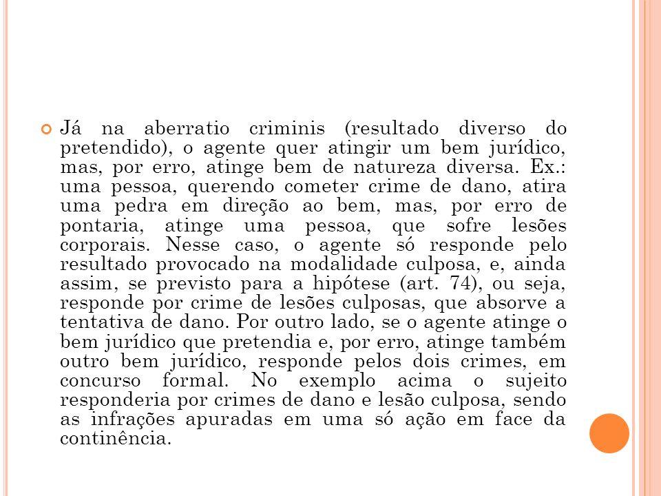 Já na aberratio criminis (resultado diverso do pretendido), o agente quer atingir um bem jurídico, mas, por erro, atinge bem de natureza diversa. Ex.: