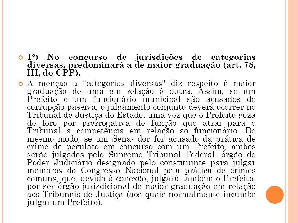 1°) No concurso de jurisdições de categorias diversas, predominará a de maior graduação (art. 78, III, do CPP). A menção a