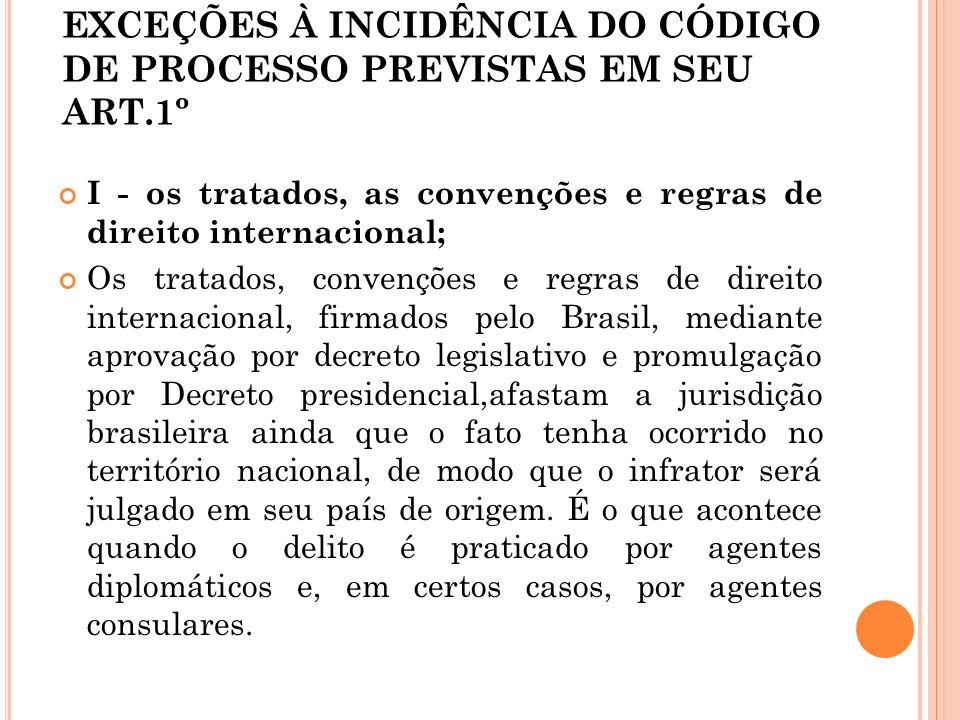 EXCEÇÕES À INCIDÊNCIA DO CÓDIGO DE PROCESSO PREVISTAS EM SEU ART.1º I - os tratados, as convenções e regras de direito internacional; Os tratados, con