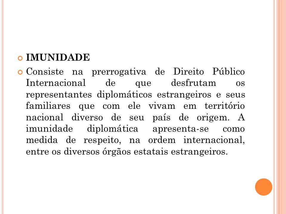 IMUNIDADE Consiste na prerrogativa de Direito Público Internacional de que desfrutam os representantes diplomáticos estrangeiros e seus familiares que