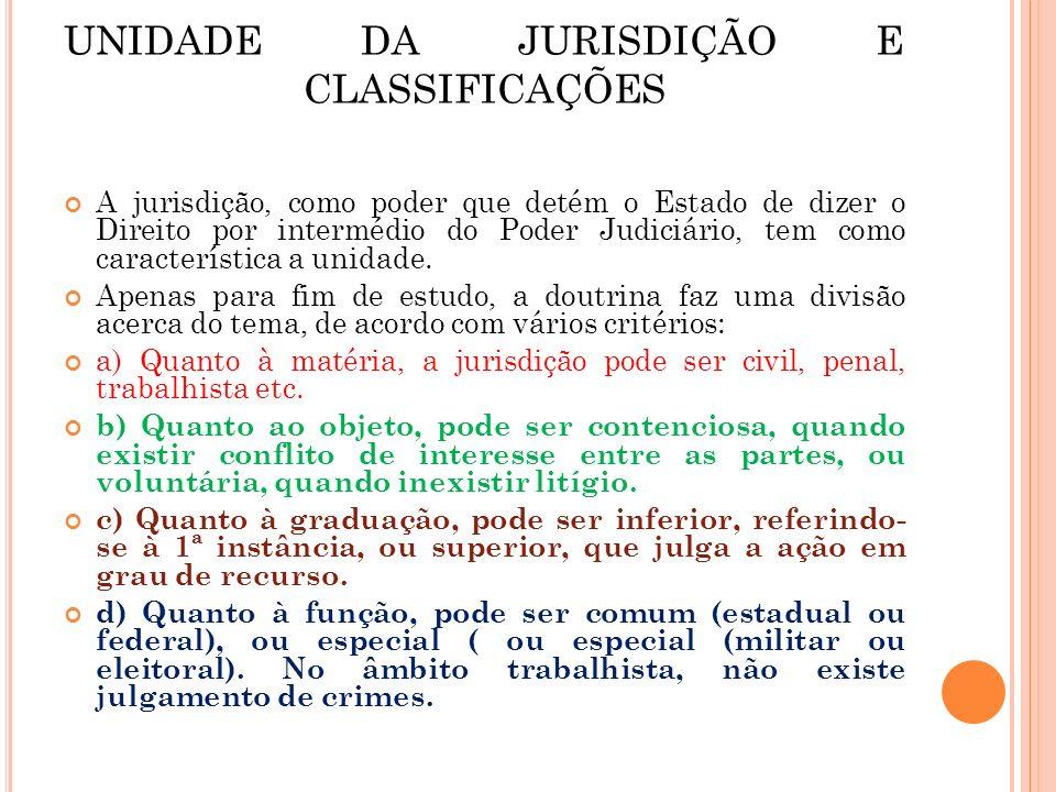 UNIDADE DA JURISDIÇÃO E CLASSIFICAÇÕES A jurisdição, como poder que detém o Estado de dizer o Direito por intermédio do Poder Judiciário, tem como car