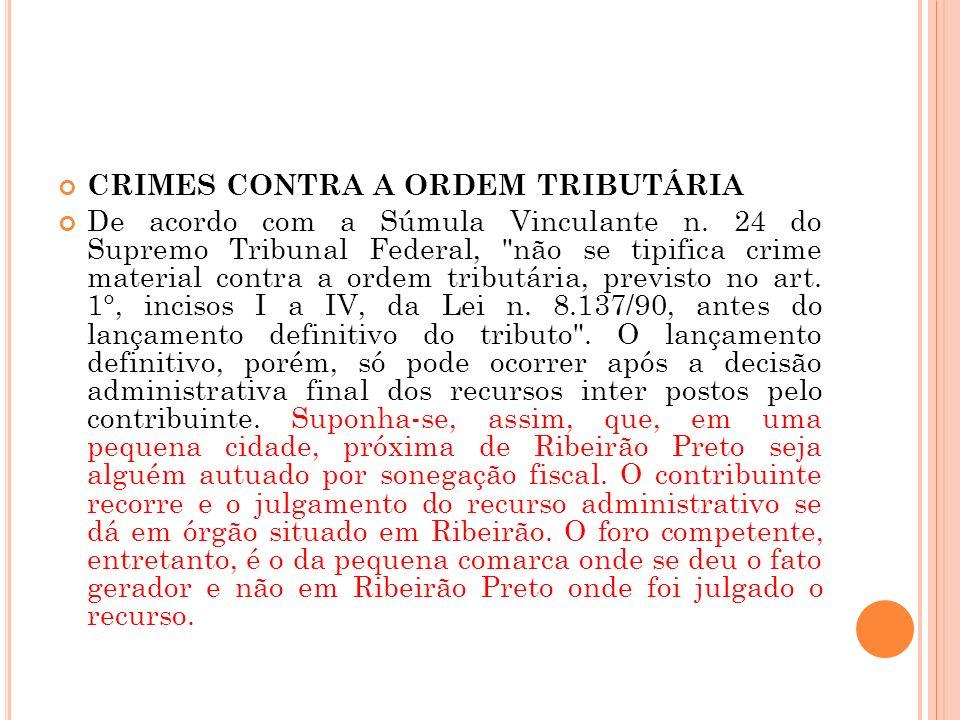 CRIMES CONTRA A ORDEM TRIBUTÁRIA De acordo com a Súmula Vinculante n. 24 do Supremo Tribunal Federal,