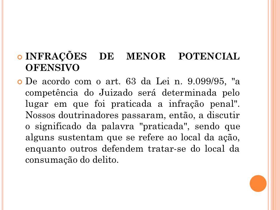 INFRAÇÕES DE MENOR POTENCIAL OFENSIVO De acordo com o art. 63 da Lei n. 9.099/95,