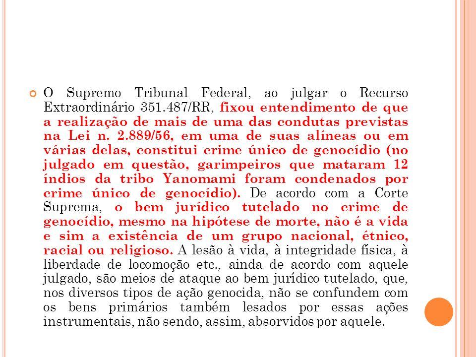 O Supremo Tribunal Federal, ao julgar o Recurso Extraordinário 351.487/RR, fixou entendimento de que a realização de mais de uma das condutas prevista