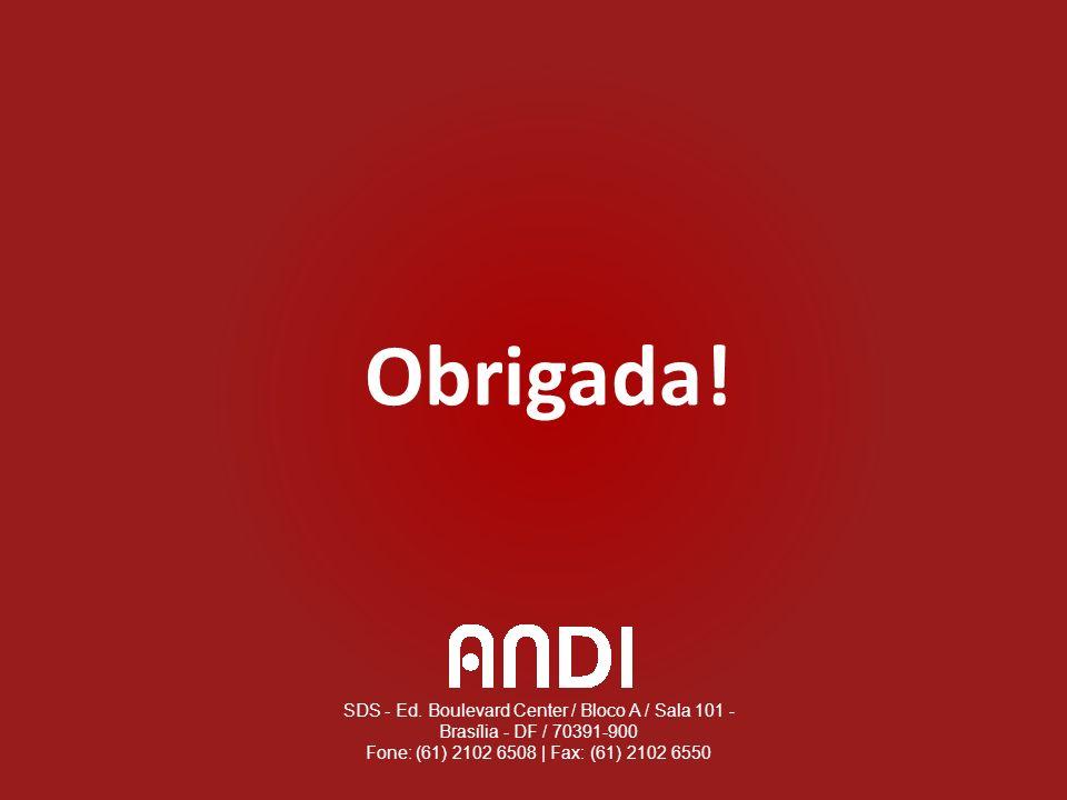 SDS - Ed. Boulevard Center / Bloco A / Sala 101 - Brasília - DF / 70391-900 Fone: (61) 2102 6508 | Fax: (61) 2102 6550 Obrigada!