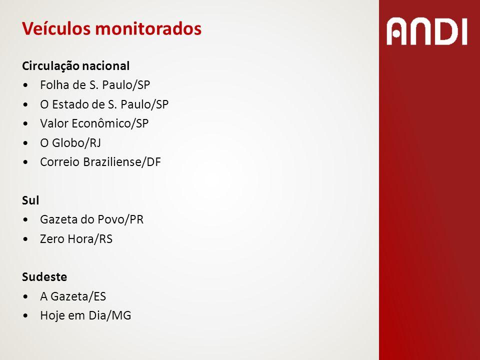 Norte A Crítica/AM O Liberal/PA Nordeste A Tarde/BA O Povo/CE Diário de Pernambuco/PE Centro-Oeste Folha do Povo/MS O Popular/GO Veículos monitorados