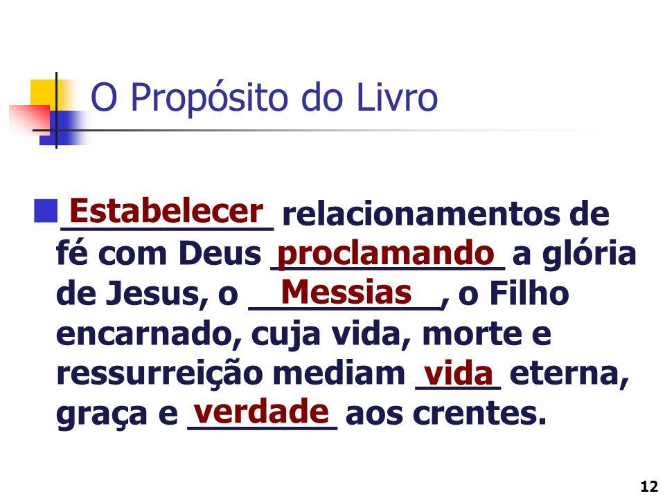 12 O Propósito do Livro __________ relacionamentos de fé com Deus ___________ a glória de Jesus, o _________, o Filho encarnado, cuja vida, morte e re