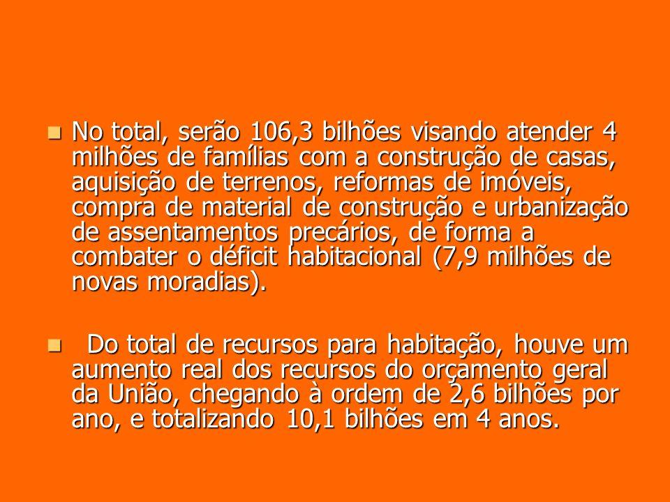 No total, serão 106,3 bilhões visando atender 4 milhões de famílias com a construção de casas, aquisição de terrenos, reformas de imóveis, compra de m