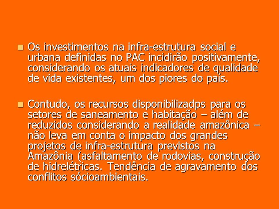 Os investimentos na infra-estrutura social e urbana definidas no PAC incidirão positivamente, considerando os atuais indicadores de qualidade de vida