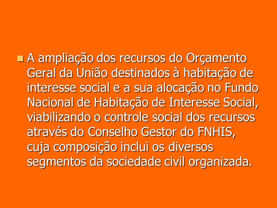 A ampliação dos recursos do Orçamento Geral da União destinados à habitação de interesse social e a sua alocação no Fundo Nacional de Habitação de Int
