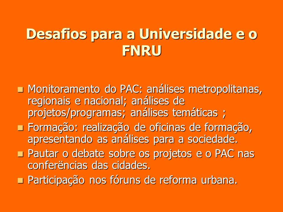 Desafios para a Universidade e o FNRU Monitoramento do PAC: análises metropolitanas, regionais e nacional; análises de projetos/programas; análises te
