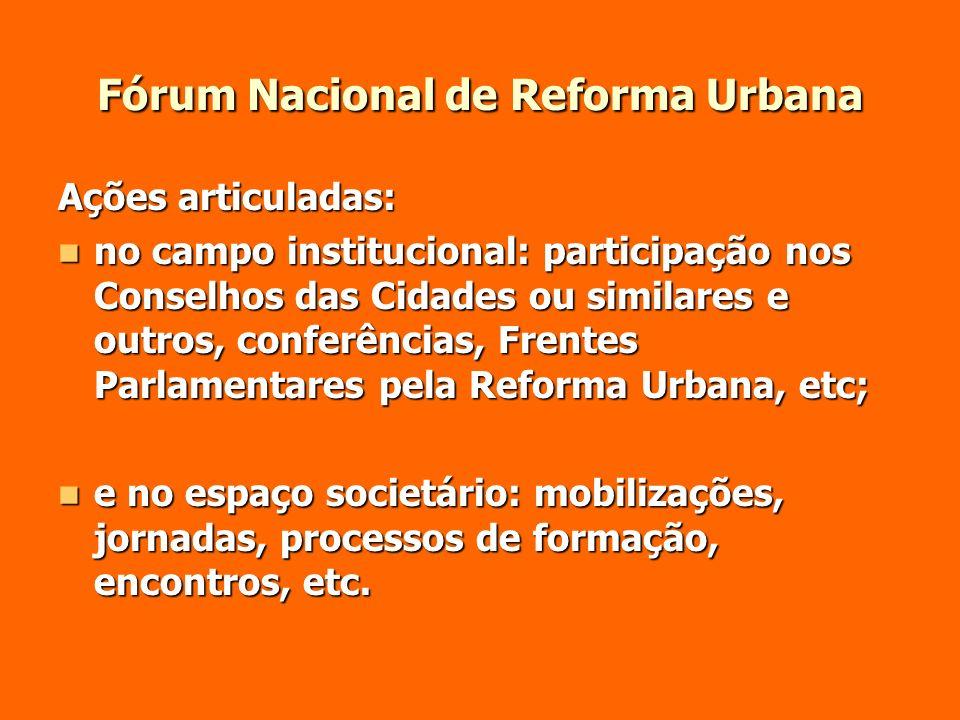 Fórum Nacional de Reforma Urbana Ações articuladas: no campo institucional: participação nos Conselhos das Cidades ou similares e outros, conferências