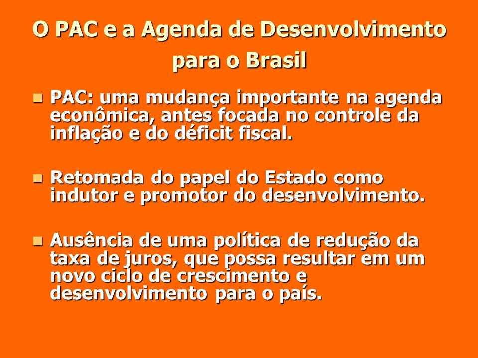 O PAC e a Agenda de Desenvolvimento para o Brasil PAC: uma mudança importante na agenda econômica, antes focada no controle da inflação e do déficit f
