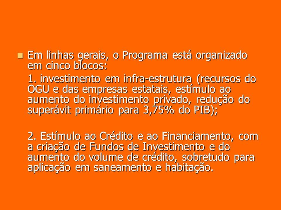 Em linhas gerais, o Programa está organizado em cinco blocos: Em linhas gerais, o Programa está organizado em cinco blocos: 1. investimento em infra-e