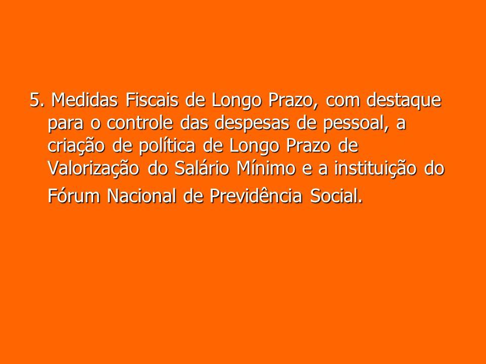 5. Medidas Fiscais de Longo Prazo, com destaque para o controle das despesas de pessoal, a criação de política de Longo Prazo de Valorização do Salári