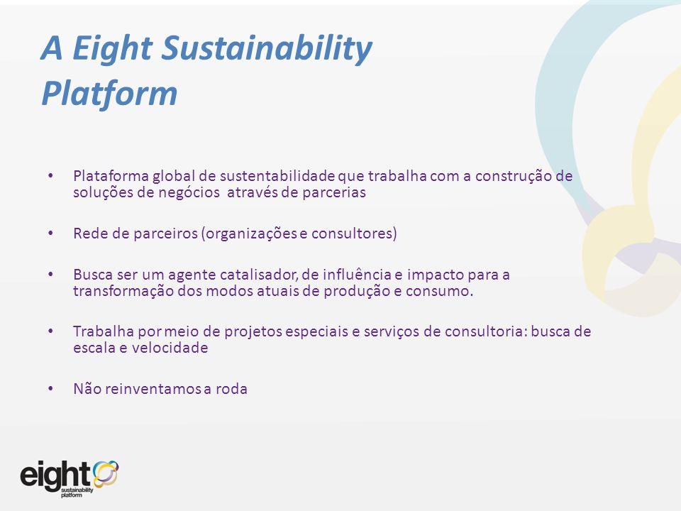 A Eight Sustainability Platform Plataforma global de sustentabilidade que trabalha com a construção de soluções de negócios através de parcerias Rede