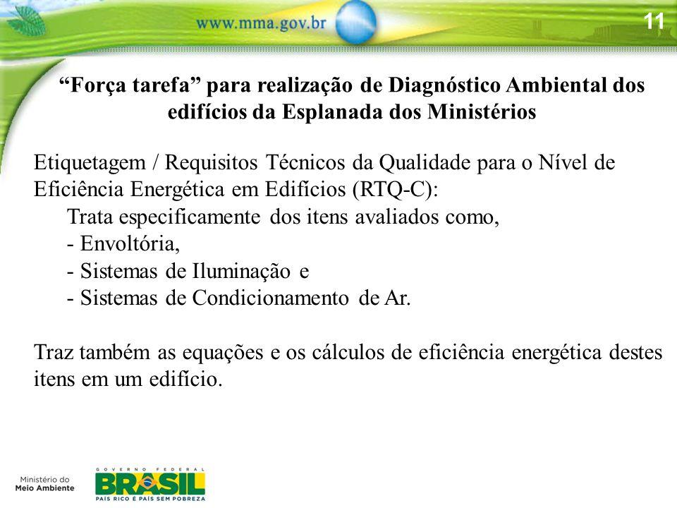 11 Força tarefa para realização de Diagnóstico Ambiental dos edifícios da Esplanada dos Ministérios Etiquetagem / Requisitos Técnicos da Qualidade par