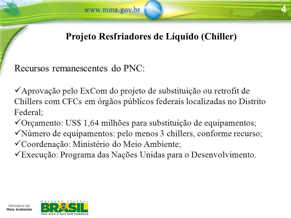 4 Projeto Resfriadores de Líquido (Chiller) Recursos remanescentes do PNC: Aprovação pelo ExCom do projeto de substituição ou retrofit de Chillers com