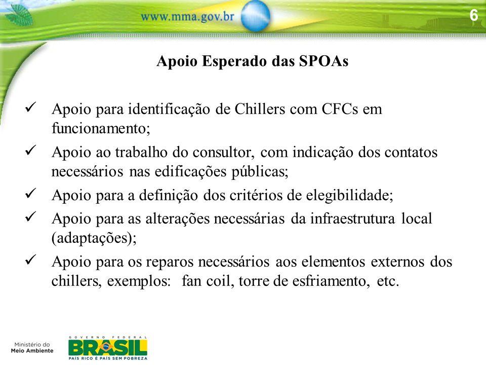 6 Apoio Esperado das SPOAs Apoio para identificação de Chillers com CFCs em funcionamento; Apoio ao trabalho do consultor, com indicação dos contatos