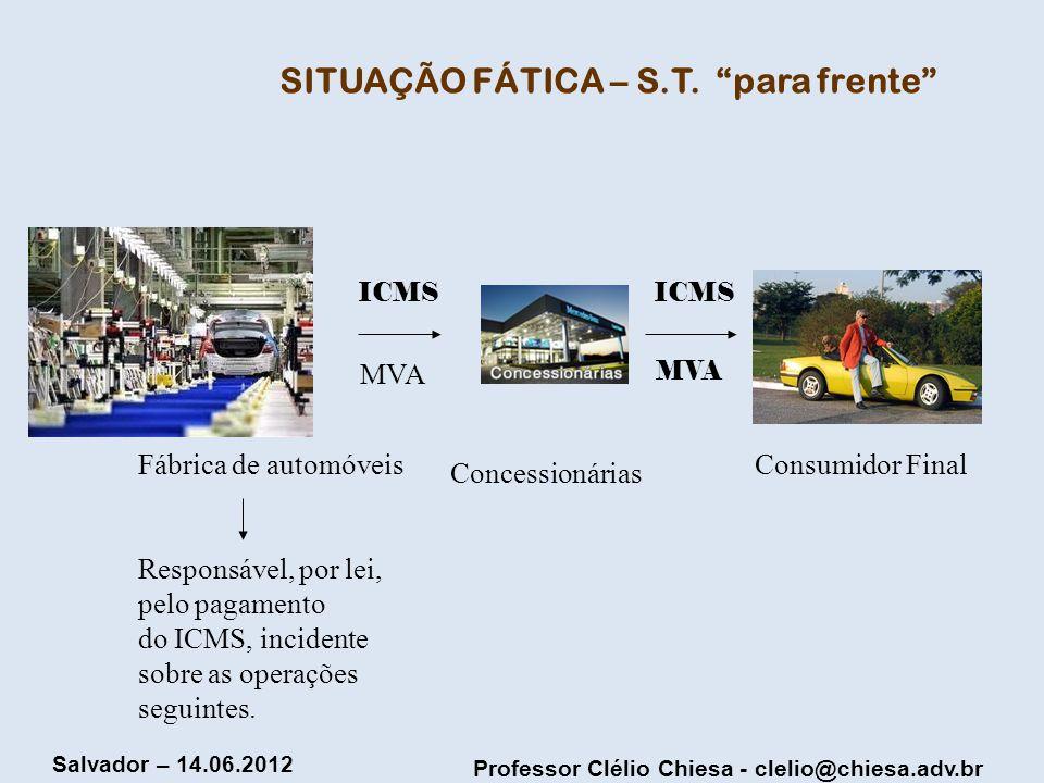 Professor Clélio Chiesa - clelio@chiesa.adv.br Salvador – 14.06.2012 SITUAÇÃO FÁTICA – S.T. para frente Fábrica de automóveis Responsável, por lei, pe