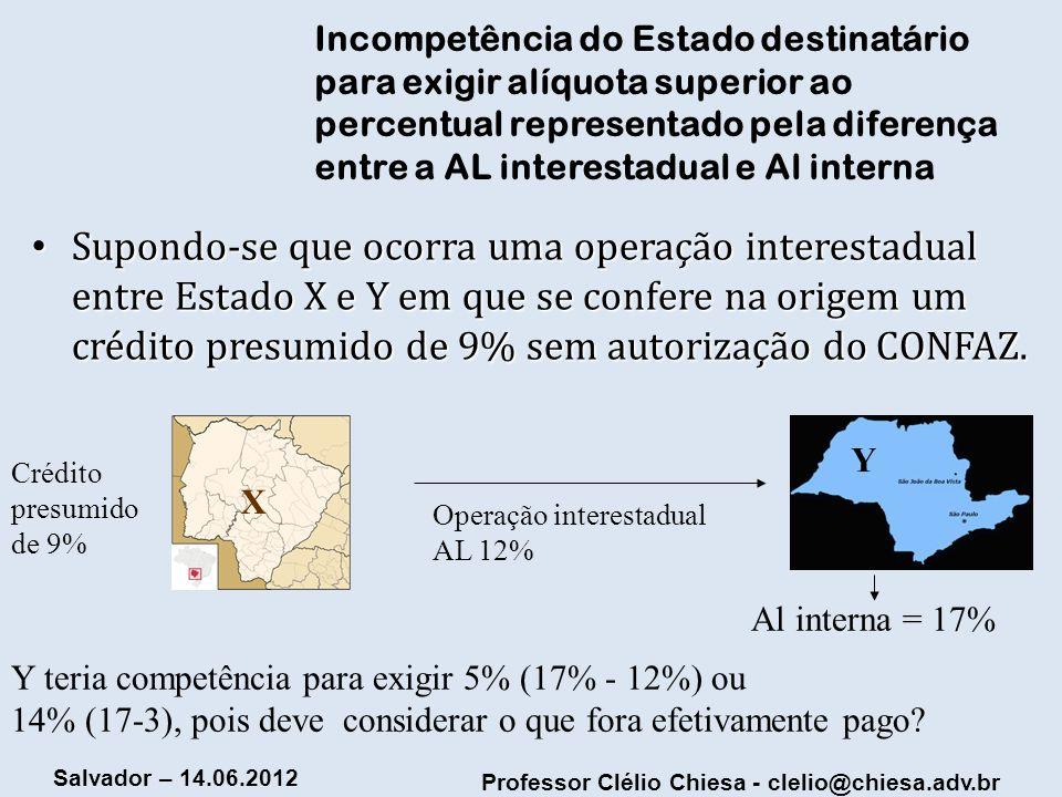 Professor Clélio Chiesa - clelio@chiesa.adv.br Salvador – 14.06.2012 Incompetência do Estado destinatário para exigir alíquota superior ao percentual