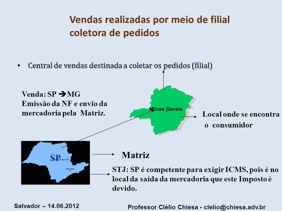 Professor Clélio Chiesa - clelio@chiesa.adv.br Salvador – 14.06.2012 Vendas realizadas por meio de filial coletora de pedidos Central de vendas destin