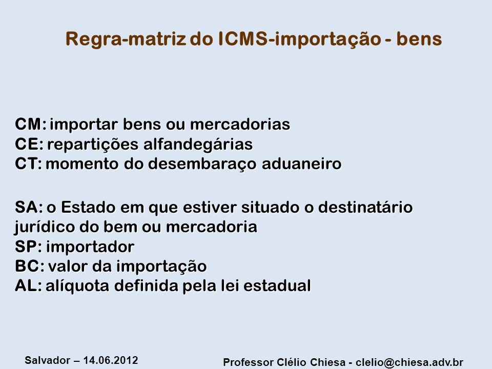 Professor Clélio Chiesa - clelio@chiesa.adv.br Salvador – 14.06.2012 Regra-matriz do ICMS-importação - bens CM: importar bens ou mercadorias CE: repar
