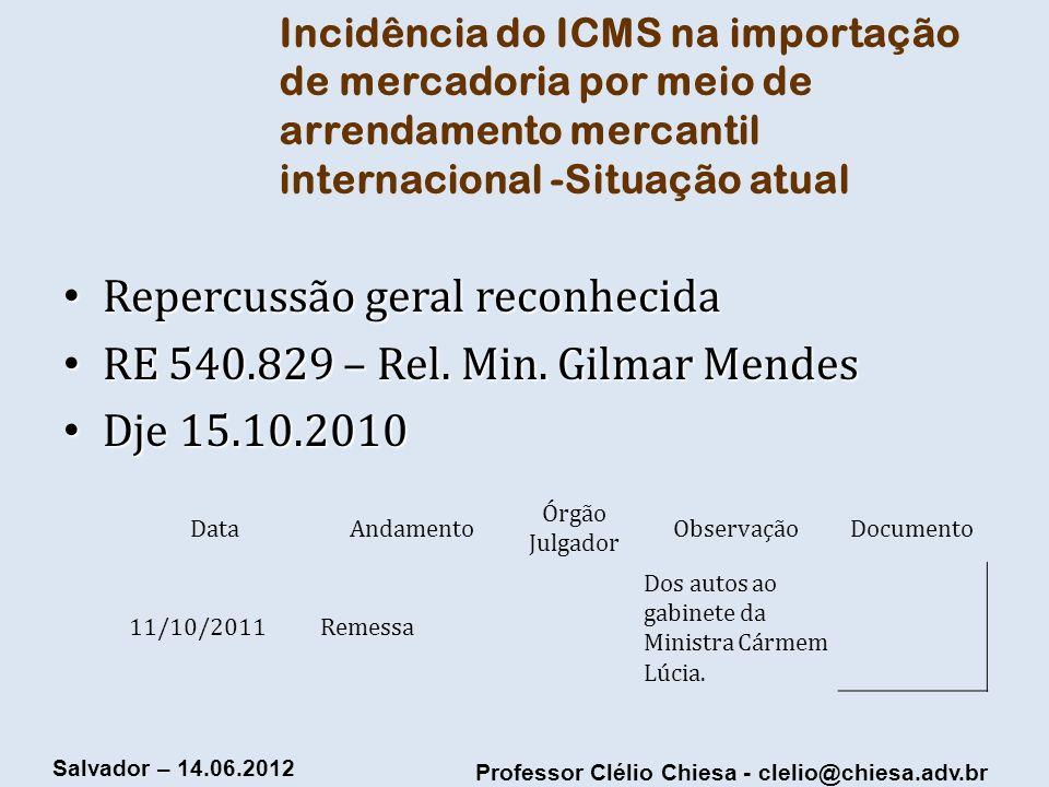 Professor Clélio Chiesa - clelio@chiesa.adv.br Salvador – 14.06.2012 Incidência do ICMS na importação de mercadoria por meio de arrendamento mercantil