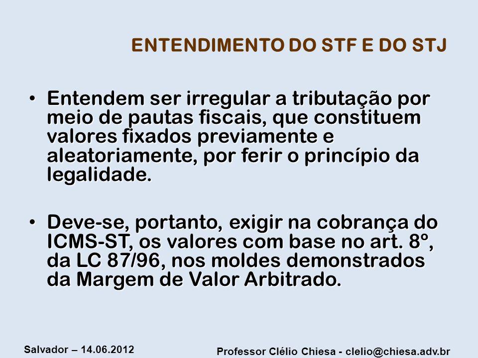 Professor Clélio Chiesa - clelio@chiesa.adv.br Salvador – 14.06.2012 ENTENDIMENTO DO STF E DO STJ Entendem ser irregular a tributação por meio de paut