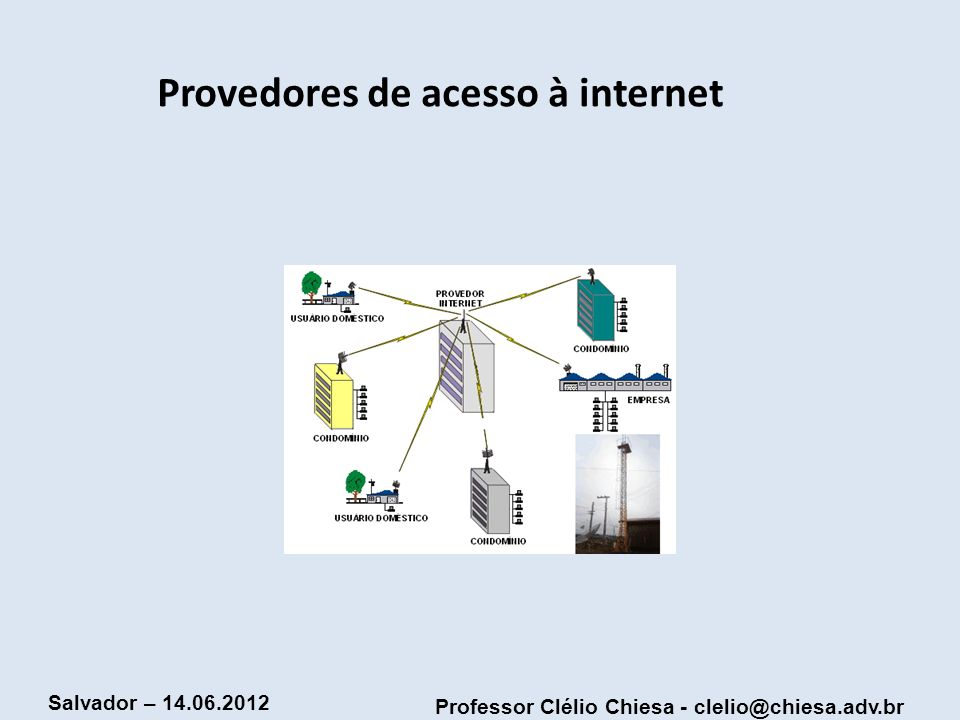 Professor Clélio Chiesa - clelio@chiesa.adv.br Salvador – 14.06.2012 Provedores de acesso à internet