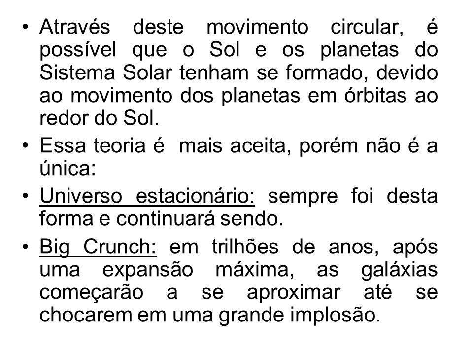 Através deste movimento circular, é possível que o Sol e os planetas do Sistema Solar tenham se formado, devido ao movimento dos planetas em órbitas a