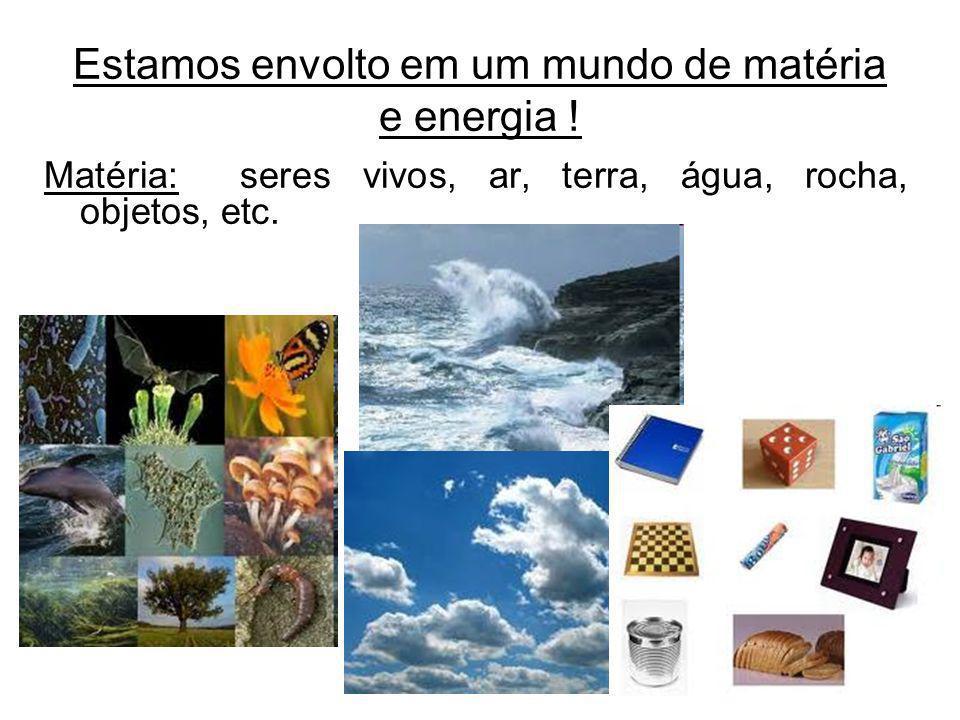 Estamos envolto em um mundo de matéria e energia ! Matéria: seres vivos, ar, terra, água, rocha, objetos, etc.