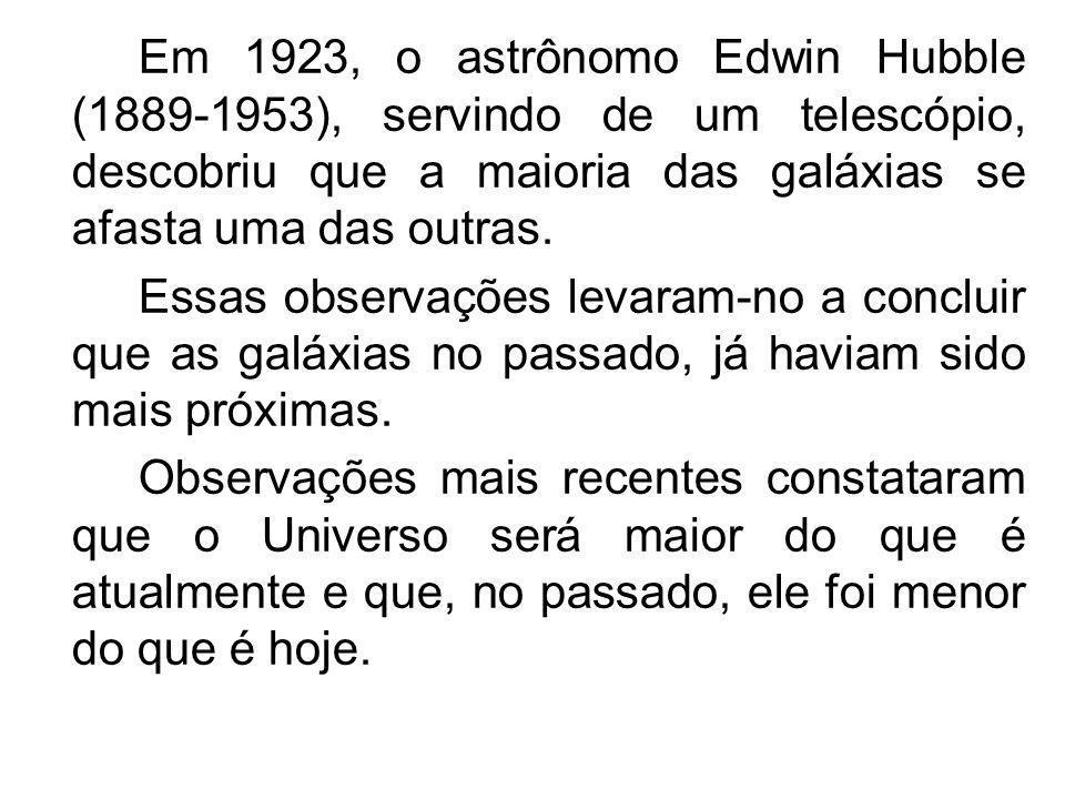 Em 1923, o astrônomo Edwin Hubble (1889-1953), servindo de um telescópio, descobriu que a maioria das galáxias se afasta uma das outras. Essas observa