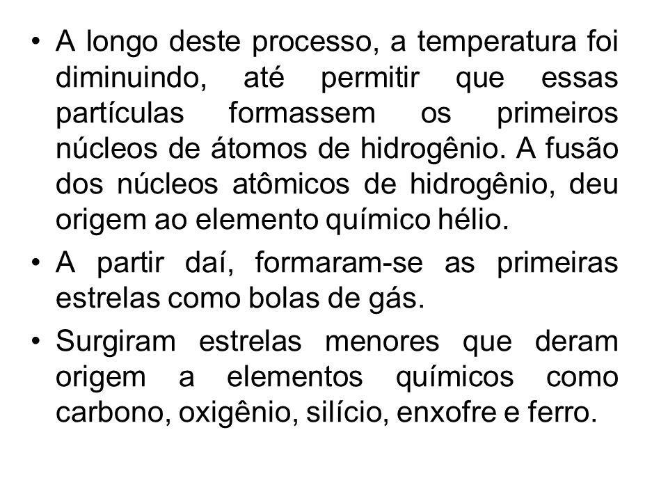 A longo deste processo, a temperatura foi diminuindo, até permitir que essas partículas formassem os primeiros núcleos de átomos de hidrogênio. A fusã