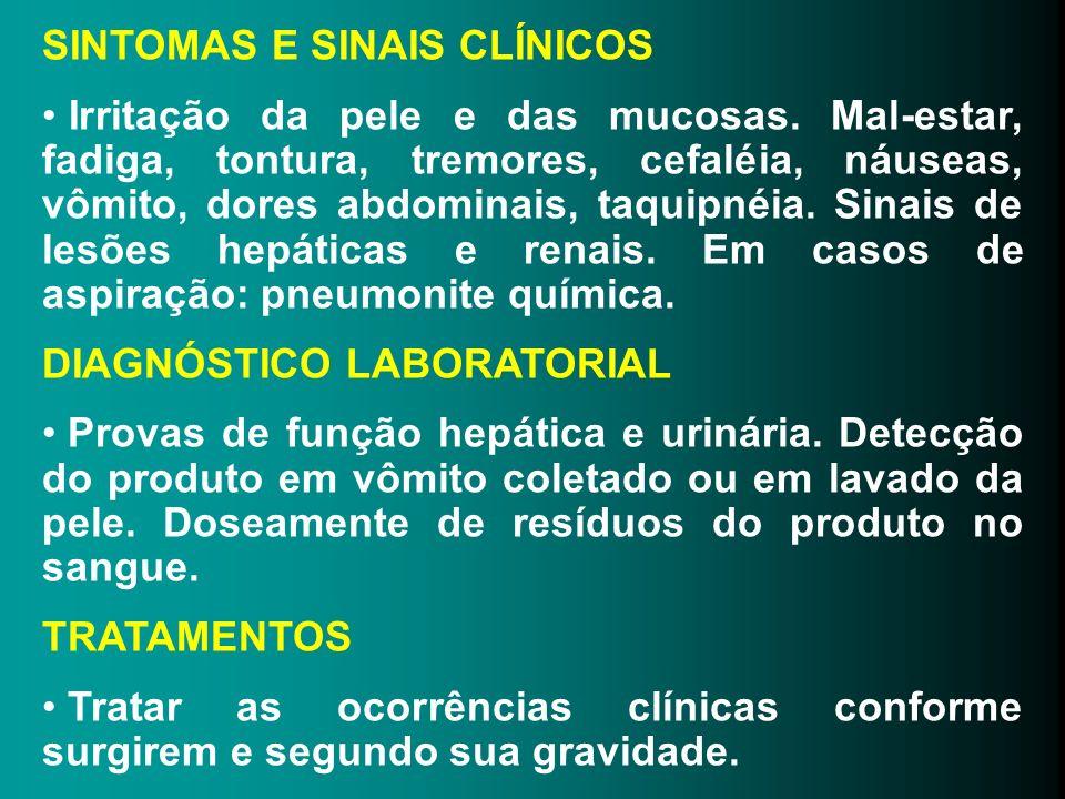 SINTOMAS E SINAIS CLÍNICOS Irritação da pele e das mucosas. Mal-estar, fadiga, tontura, tremores, cefaléia, náuseas, vômito, dores abdominais, taquipn