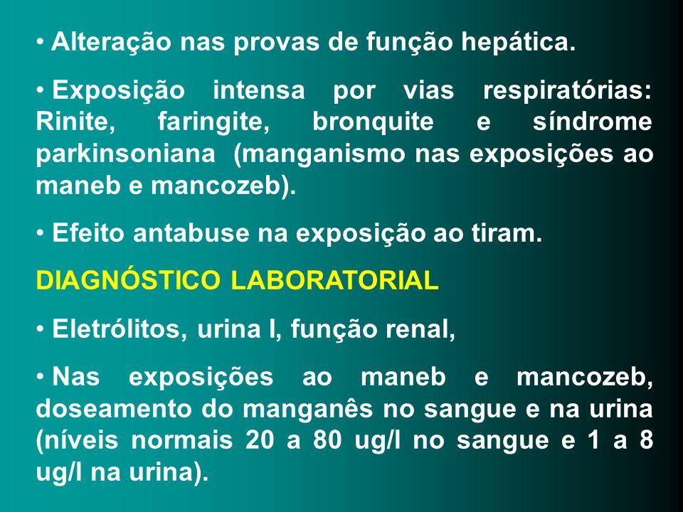 Alteração nas provas de função hepática. Exposição intensa por vias respiratórias: Rinite, faringite, bronquite e síndrome parkinsoniana (manganismo n
