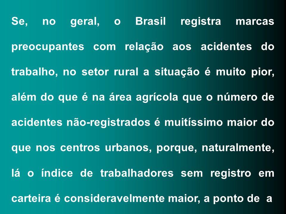 Se, no geral, o Brasil registra marcas preocupantes com relação aos acidentes do trabalho, no setor rural a situação é muito pior, além do que é na ár