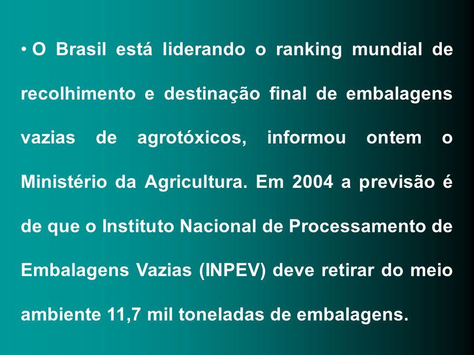 O Brasil está liderando o ranking mundial de recolhimento e destinação final de embalagens vazias de agrotóxicos, informou ontem o Ministério da Agric