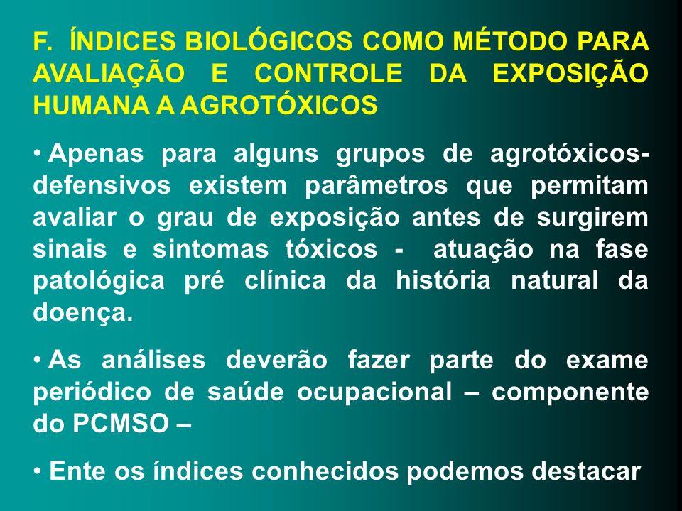 F. ÍNDICES BIOLÓGICOS COMO MÉTODO PARA AVALIAÇÃO E CONTROLE DA EXPOSIÇÃO HUMANA A AGROTÓXICOS Apenas para alguns grupos de agrotóxicos- defensivos exi