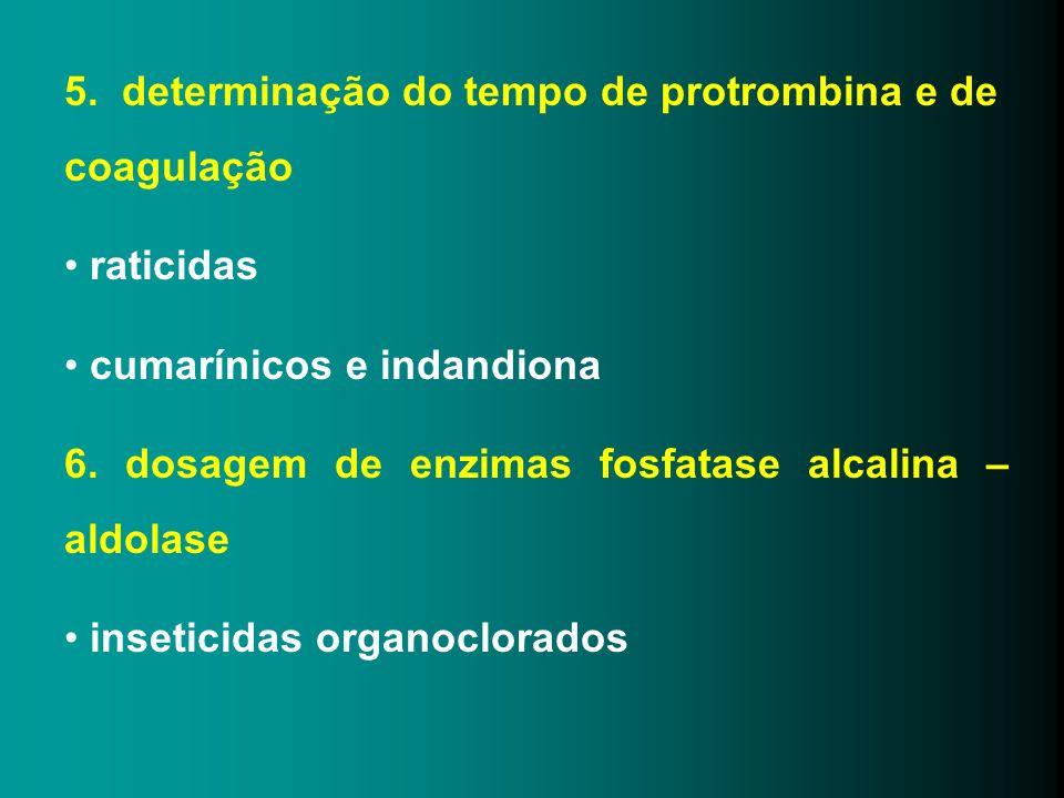 5. determinação do tempo de protrombina e de coagulação raticidas cumarínicos e indandiona 6. dosagem de enzimas fosfatase alcalina – aldolase insetic