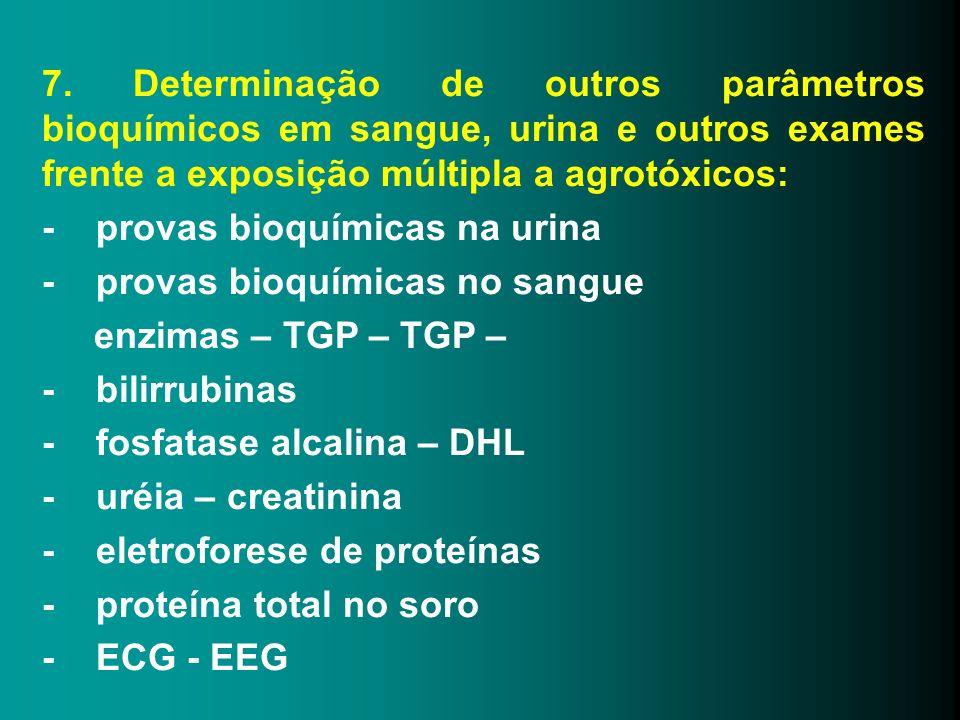 7. Determinação de outros parâmetros bioquímicos em sangue, urina e outros exames frente a exposição múltipla a agrotóxicos: - provas bioquímicas na u