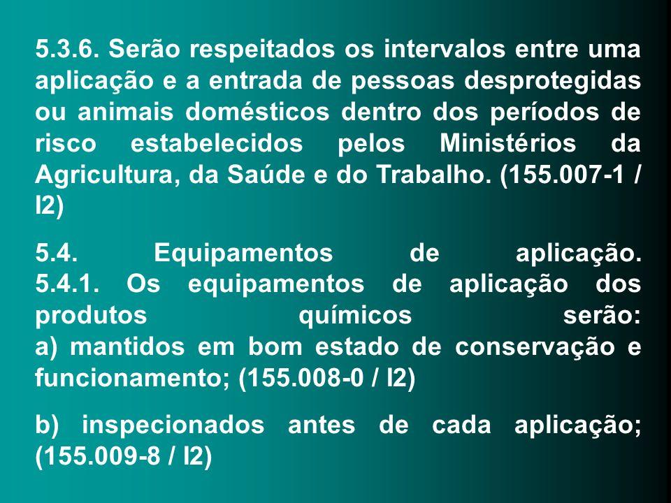 5.3.6. Serão respeitados os intervalos entre uma aplicação e a entrada de pessoas desprotegidas ou animais domésticos dentro dos períodos de risco est