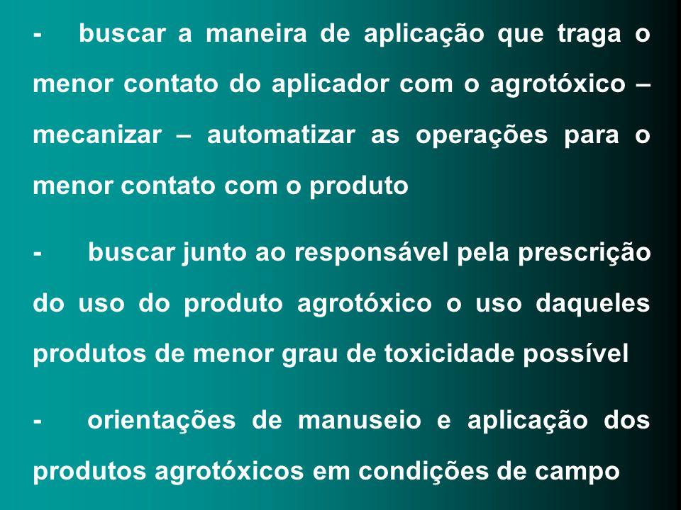 - buscar a maneira de aplicação que traga o menor contato do aplicador com o agrotóxico – mecanizar – automatizar as operações para o menor contato co